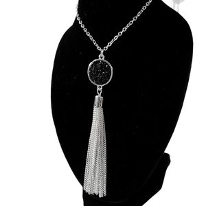 4/$25 Round Tassel Pendant Necklace SilverTone